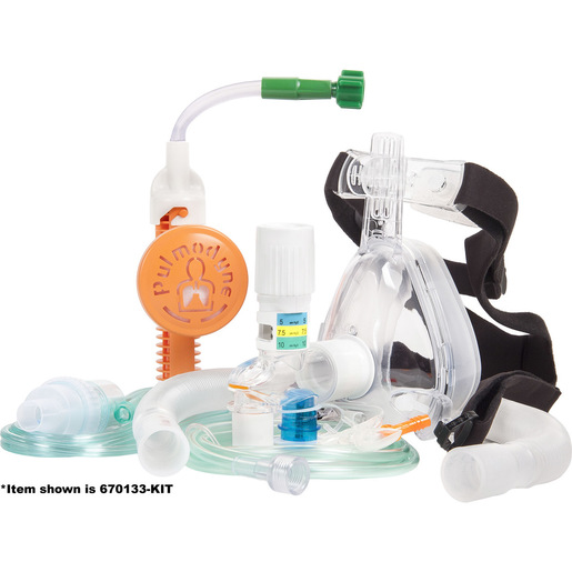 CPAP/Capnography Kit with 3-Set Valve, DISS Connect, Fixed Flow with 4 in O2 Hose and CO2 Sampling Line, Adult Large
