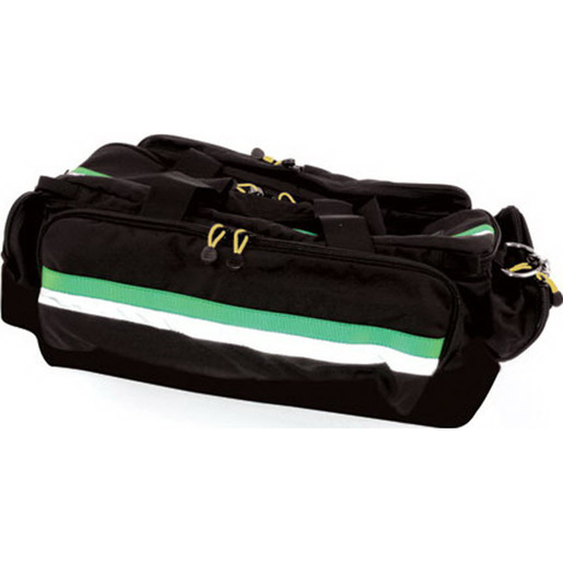 *Discontinued* Airway Bag, 27in L x 12in W x 14in H, Black with Green, Pocketed