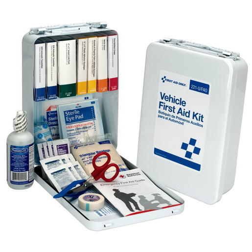 Vehicle First Aid Kit Case, 6.75in x 10in x 2.625in, 25 Person, Metal Case