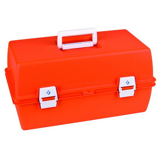 Flambeau First Aid Case, 15-5/8in L x 6-1/2in W x 7-3/4in D, Model 1872, Orange, Copolymer Resin