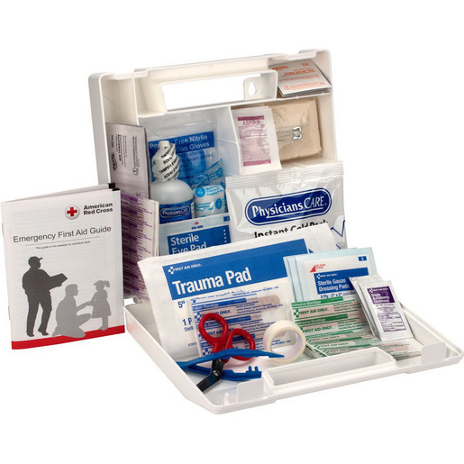 First Aid Kit Case, 9in x 8-3/8in x 2-1/2in, 25 Person, Plastic Case