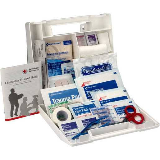 First Aid Kit Case, 9in x 8-3/8in x 2-1/2in, 10 Person, Plastic Case
