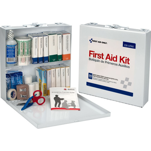 First Aid Kit Case, 11in H x 10.813in W x 2.25in D, 50 Person, Metal Case