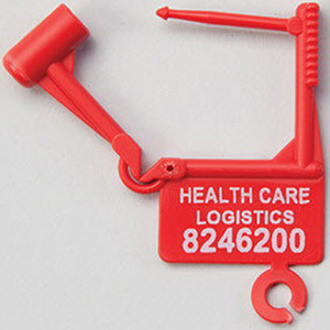 Padlock Seal, 1-7/8in H x 1-1/2 in W, Red, Polypropylene, Numbered