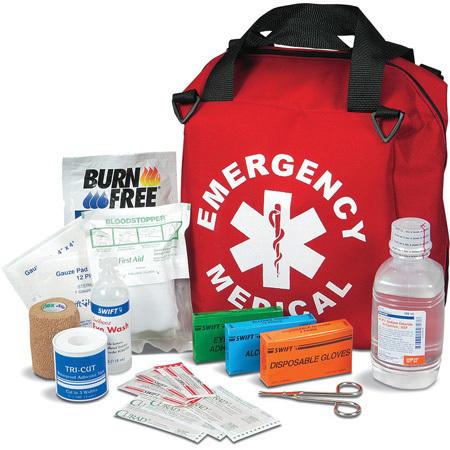 Emergency Medical Kit #2, Soft Nylon Case, 15in x 12in x 8in, Red