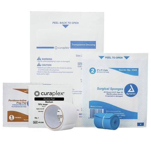 Curaplex® IV Start Kit, Alcohol Prep, IV Dressing 2x2 Gauze Sponge 1 in x 1.5yd Tape LF TQ