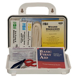 Pac-Kit® First-Aid Kit, 4.5in x 7.5in x 2.75in, Plastic Case, 10 Person