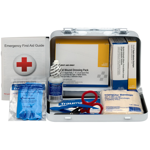 Vehicle First Aid Kit Case, 4-1/2in L x 7-1/2in W x 2-3/4in H, 10 Person, Weatherproof Steel Case