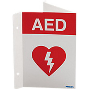 AED Wall Sign, 9in H x 6.1in D, Red