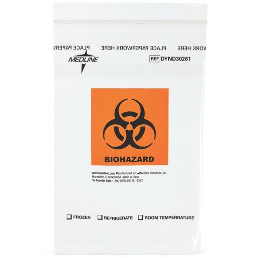 Biohazard Specimen Bag, Clear with Orange/Black, 9in L x 6in W