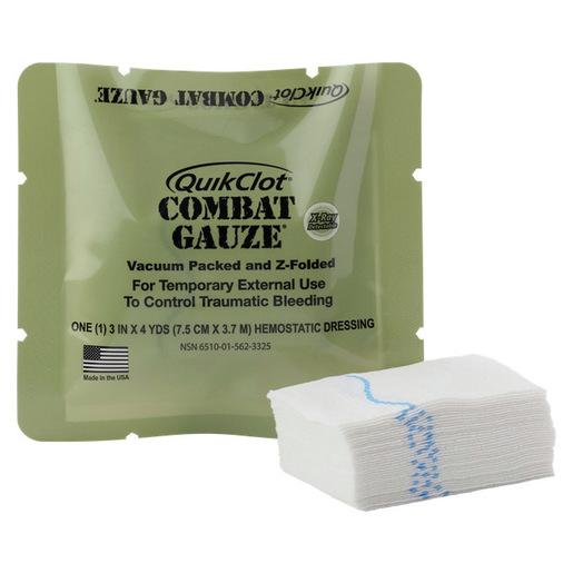QuikClot® Combat Hemostatic Gauze®, 3in x 4yd Strip, Z-fold