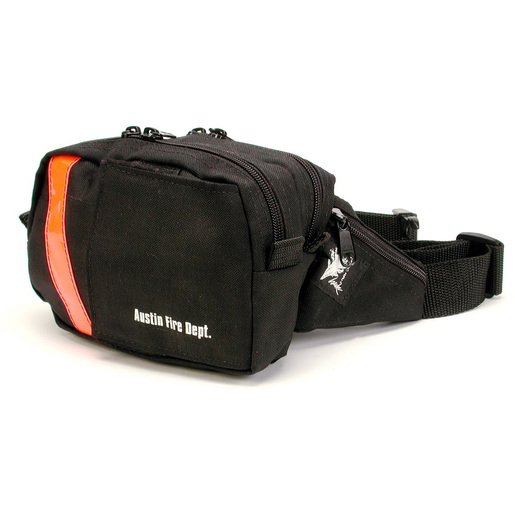 Compact EMS-2 WaistPak Fanny Pack, Black with Blue Reflective Stripe