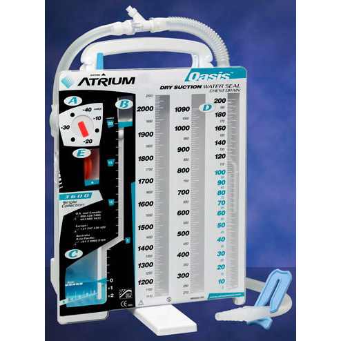 Atrium Oasis Dry Suction Chest Drain, Latex-free