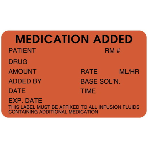 IV Medication Added Label, Fluorescent Red, 2-1/2in x 1-1/2in