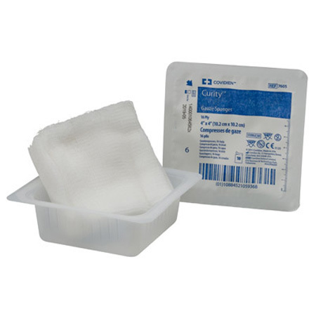 Curity™ Gauze Sponges, White, 4in L x 4in W