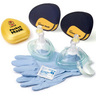 CPR Pocket Mask with O2 Inlet, Headstrap, Gloves and Wipe, Black Soft Case