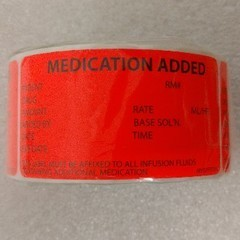 *Discontinued* Medication Added Labels, Red, 333 per Roll