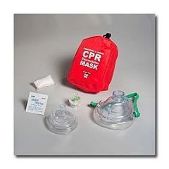 *Discontinued* CPR Resuscitator with Adult/Child Mask, Gloves and Wipe in Soft Red Nylon Case