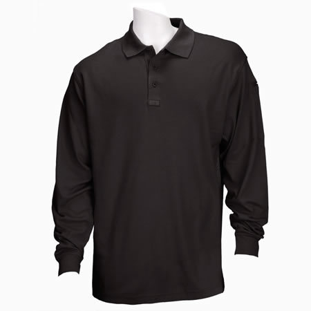 5.11 Men's Performance Polo Shirts, Long Sleeve, Black