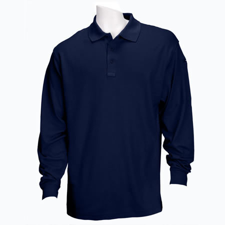 5.11 Men's Performance Polo Shirts, Long Sleeve, Dark Navy