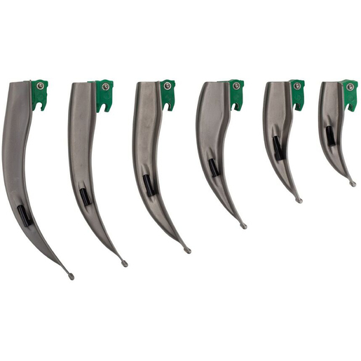 IntuBrite™ Laryngoscope Blades, Disposable, Greenline, FO, Mac