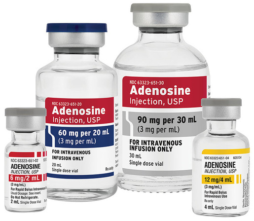 Adenosine (Adenocard) Injection, 3mg/mL, 12mg/4mL Vial