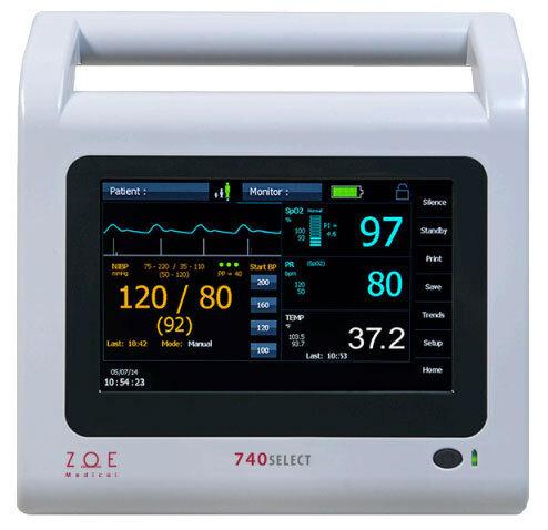 Zoe 740 SELECT<sup>™</sup> BP Monitor with MAXNIBP, Masimo SPO2, FILAC 3000 Temp, ECG