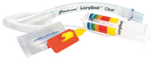 Flexicare LarySeal Clear Plus Laryngeal Mask Airway with Lubricant and Inflator, Single-use, PVC