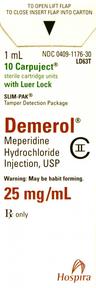 Demerol<sup>®</sup> (Meperidine Hydrochloride), Slim-Pak LL, USP, 25mg/mL, 1mL Carpuject<sup>™</sup>