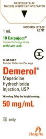 Demerol<sup>®</sup> (Meperidine Hydrochloride), Slim-Pak LL, USP, 50mg/mL, 1mL Carpuject<sup>™</sup>