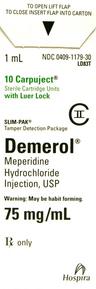 Demerol<sup>®</sup> (Meperidine Hydrochloride) Slim-Pak LL, USP, 75mg/mL, 1mL Carpuject<sup>™</sup>