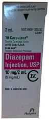 Diazepam, USP, 5mg/mL, 2mL Carpuject<sup>™</sup> Luer