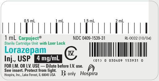 Lorazepam, USP, 4 mg/mL, 1mL Carpuject<sup>™</sup>