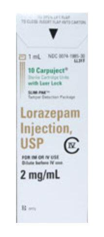 Lorazepam, USP, 2mg/mL, 1mL Capuject<sup>™</sup> Luer