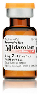 Midazolam (Versed) Injection, USP, 1mg/mL, 2mL Vial