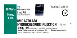 Midazolam (Versed), 5mg/mL, 1mL Vial