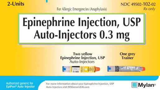 Mylan Epinephrine Auto-Injector, 2-pack, Safety, Adult, 0.3mg, 0.3mL