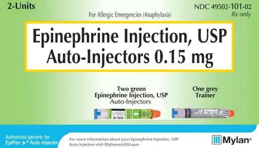 Mylan Epinephrine Auto-Injector, 2-pack, Safety