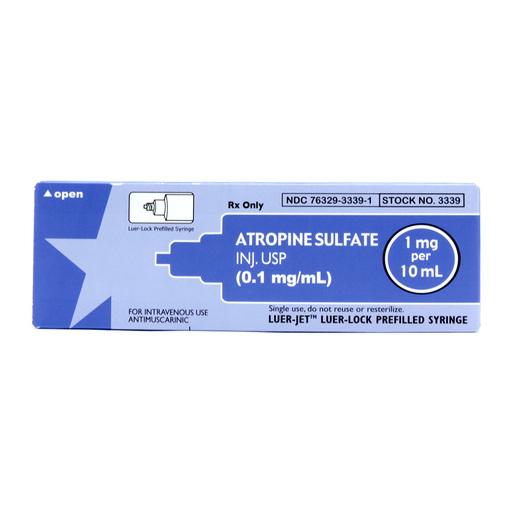 Prefilled Syringes, Luer Jet, Atropine Sulfate, 0.1mg/mL, 10mL
