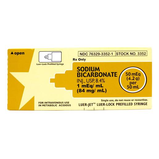 Prefilled Syringes, Luer Jet, Sodium Bicarbonate, 8.4%, 1mEq/mL, 50mL