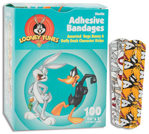 "Bugs Bunny and Daffy Duck Adhesive Bandages, 3/4"" x 3"""