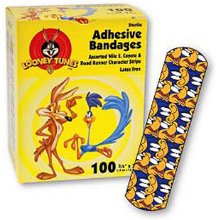 "Wile E. Coyote and Road Runner Adhesive Bandages, 3/4"" x 3"""