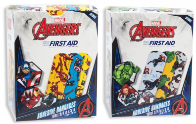 "Avengers<sup>™</sup> Adhesive Bandages, Captain America and Iron Man, 3/4"" x 3"""
