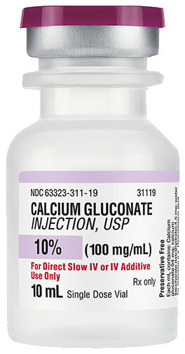 Calcium Gluconate, USP, 10%, 100mg/mL, 10mL Vial