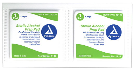 Dynarex<sup>®</sup> Alcohol Prep Pads, Sterile, Large, 100/box