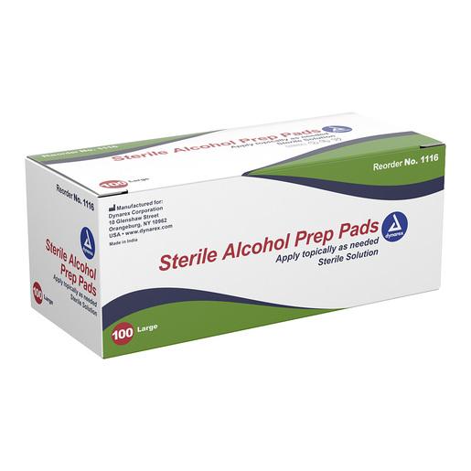 Dynarex<sup>®</sup> Alcohol Prep Pads, Sterile, Large, 100/box