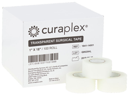 Curaplex<sup>®</sup> Transparent Surgical Tape, 1&rdquo; x 18&rdquo;