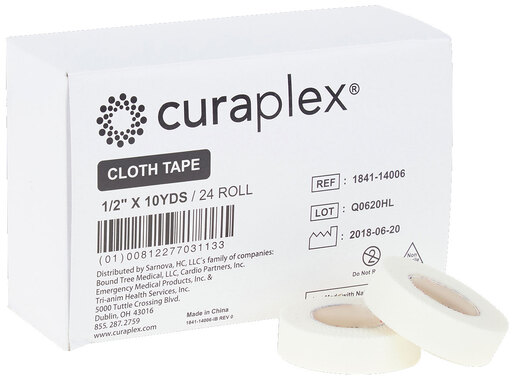 Curaplex<sup>&reg;</sup> Cloth/Silk White Adhesive Tape, 10yd, 1/2&rdquo;