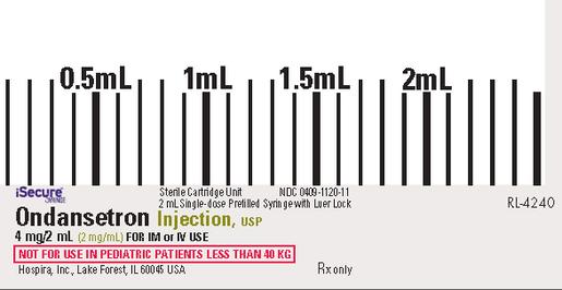 Ondansetron Injection, USP, 4mg/2mL, 2mL iSecure<sup>™</sup> Luer Glass Syringe, 10/box