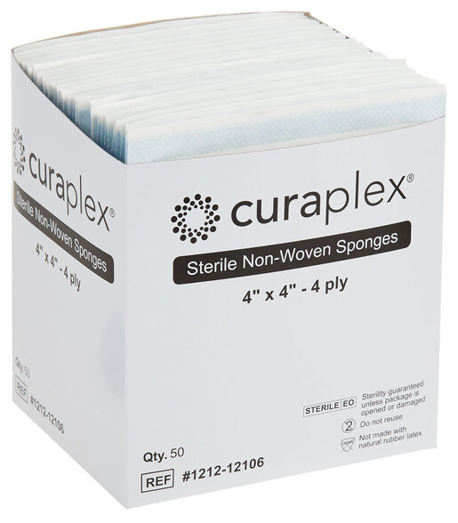 "Curaplex<sup>®</sup> Sterile Gauze Sponge, Non-woven, 4-ply, 4"" x 4"""